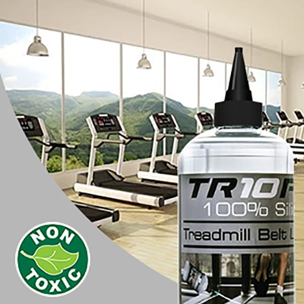 750ml commercial silicone treadmill oil being used in a gym to keep the treadmills runnning smoothly